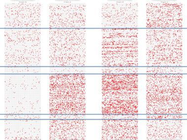Met zoekverbeelder zijn simpel patronen te herkennen in het Voynichmanuscript
